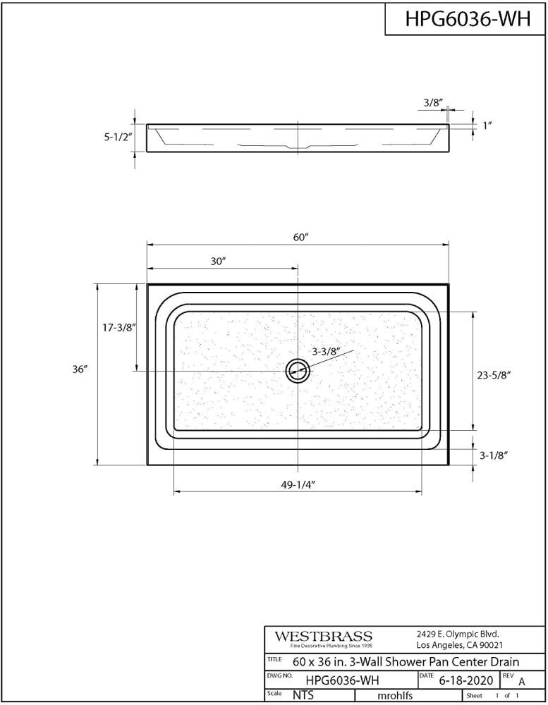 Matte Black Westbrass HPG6036WHB-62 60 x 36 3-Wall with Center ...