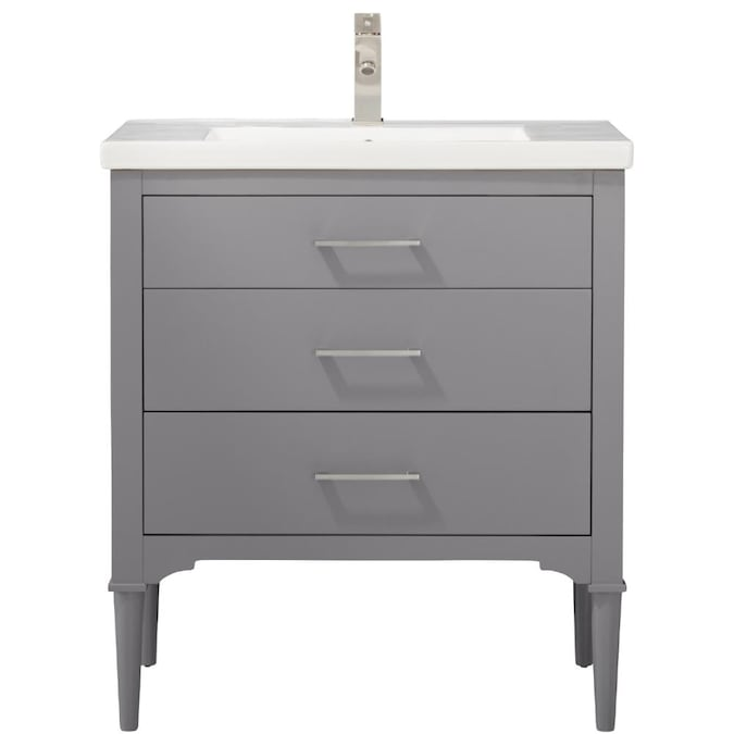 Design Element Mason 30 In Gray Single Sink Bathroom Vanity With White Porcelain Top In The Bathroom Vanities With Tops Department At Lowes Com