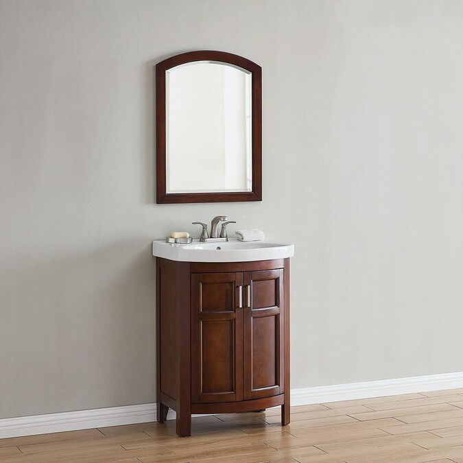 Style Selections Morecott 24 In Chocolate Single Sink Bathroom Vanity With White Vitreous China Top In The Bathroom Vanities With Tops Department At Lowes Com