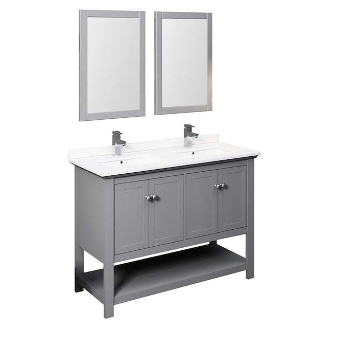 Fresca Cambria 48 In Gray Undermount Double Sink Bathroom Vanity With White Quartz Top Mirror And Faucet Included In The Bathroom Vanities With Tops Department At Lowes Com