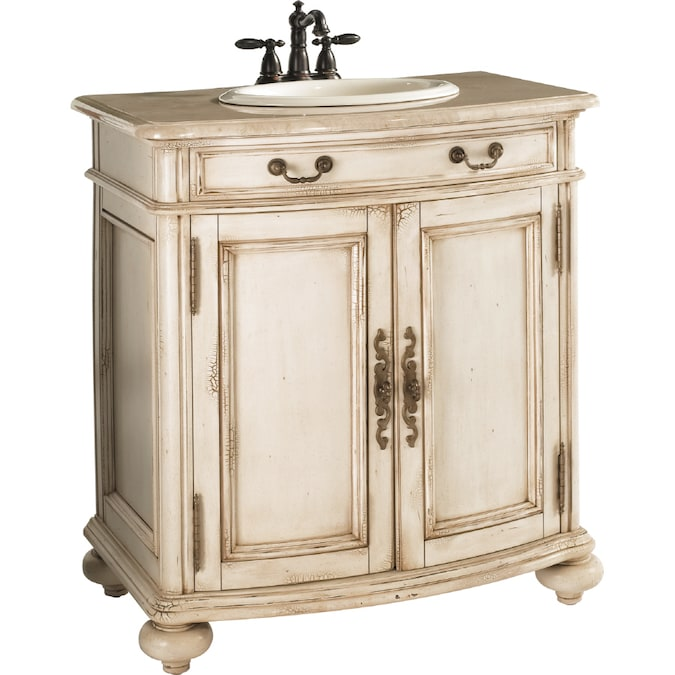 Estate By Rsi Vintage Antiqued White Undermount Single Sink Bathroom Vanity With Natural Marble Top Actual 31 In X 20 In In The Bathroom Vanities With Tops Department At Lowes Com