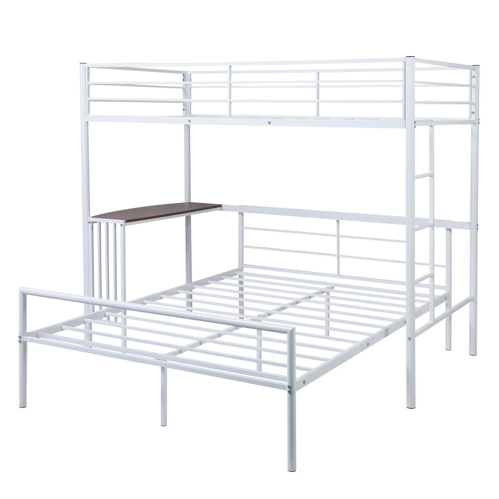 Casainc Twin Over Full Metal Bunk Bed With Desk Ladder And Quality Slats For Bedroom Metallic White In The Bunk Beds Department At Lowes Com
