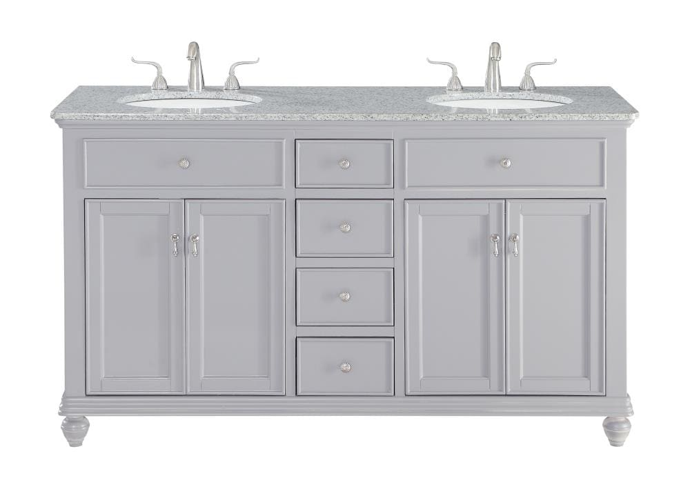 Elegant Decor First Impressions 60 In Gray Undermount Double Sink Bathroom Vanity With Cashmere White Granite Top In The Bathroom Vanities With Tops Department At Lowes Com