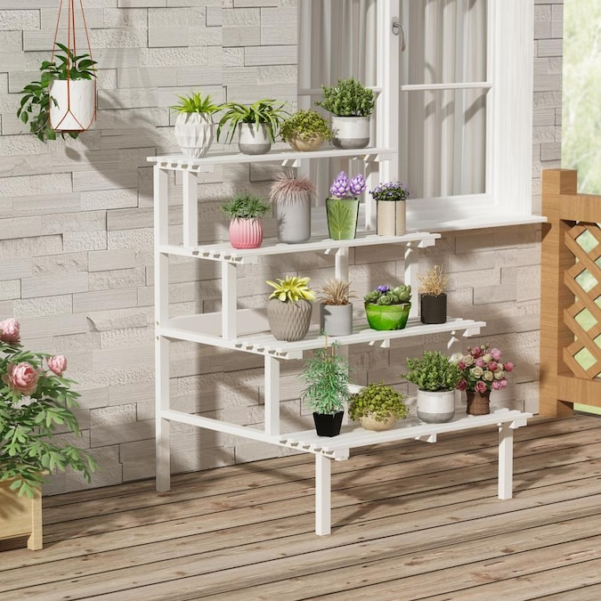 Fufu Gaga 4 Tier Solid Wood Plant Stand, Patio Plant Stands Tiered