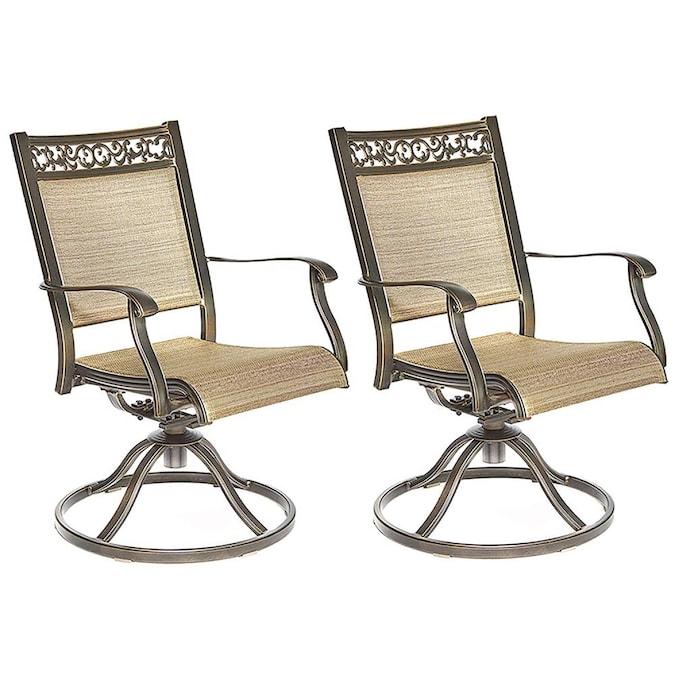 Tan Metal Frame Swivel Dining Chair S, Patio Furniture Swivel Rocker Chairs