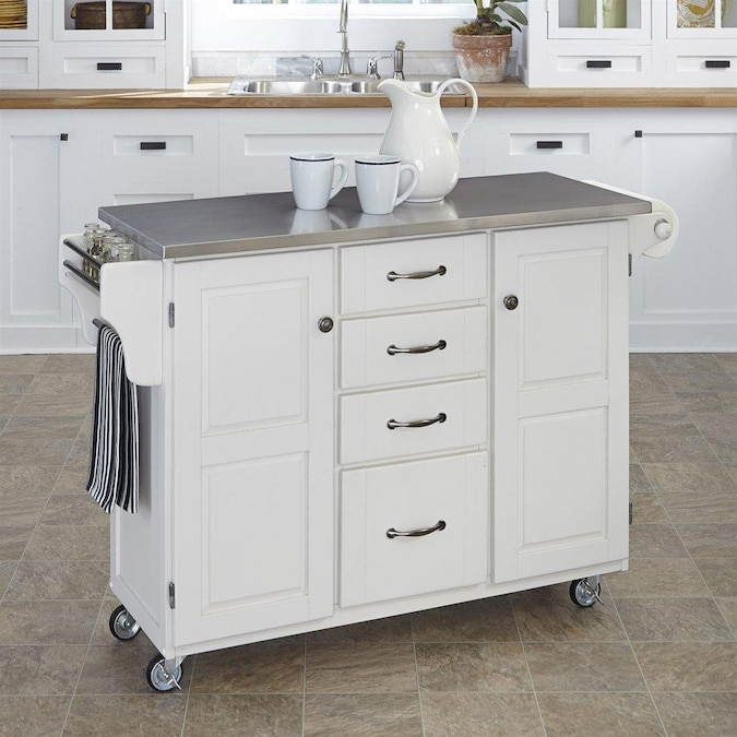 Home Styles White Wood Base With Stainless Steel Metal Top Kitchen Cart 17 75 In X 48 In X 35 5 In In The Kitchen Islands Carts Department At Lowes Com