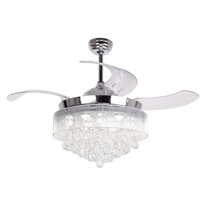 Parrot Uncle 46 In Chrome Led Ceiling Fan With Remote 4 Blade In The Ceiling Fans Department At Lowes Com