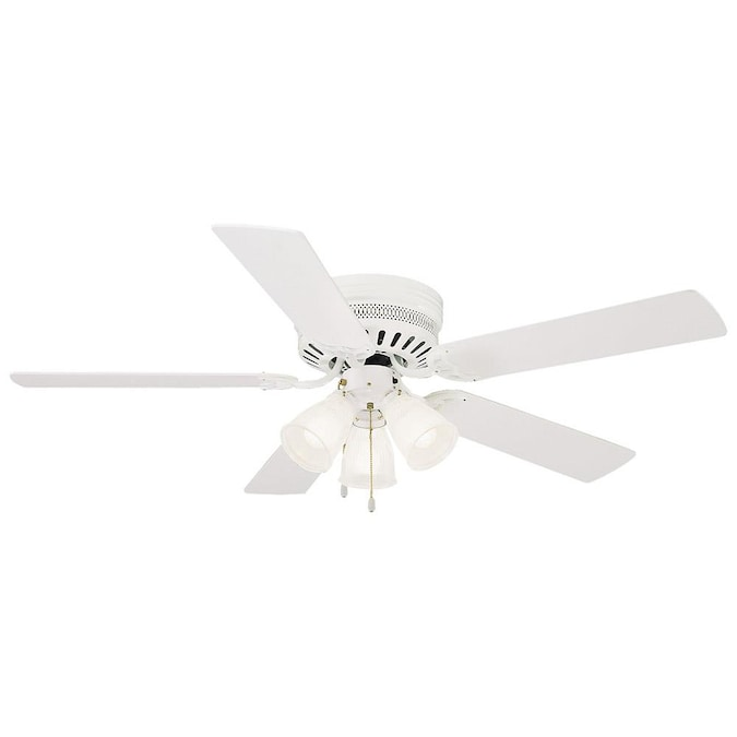 Design House Millbridge 52 In White Indoor Flush Mount Ceiling Fan With Light Kit 5 Blade In The Ceiling Fans Department At Lowes Com