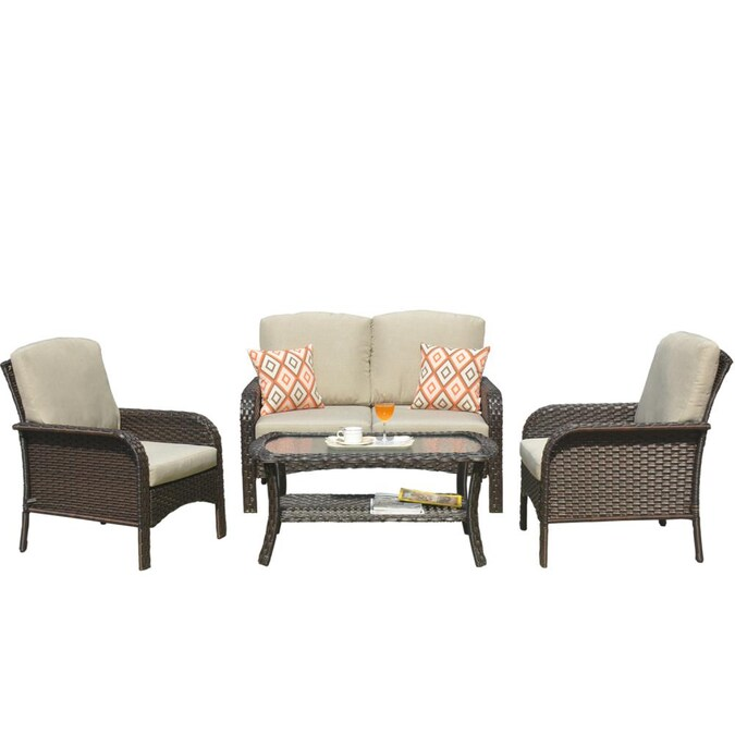 Ovios New Augtus 4 Piece Metal, Outdoor Conversation Furniture