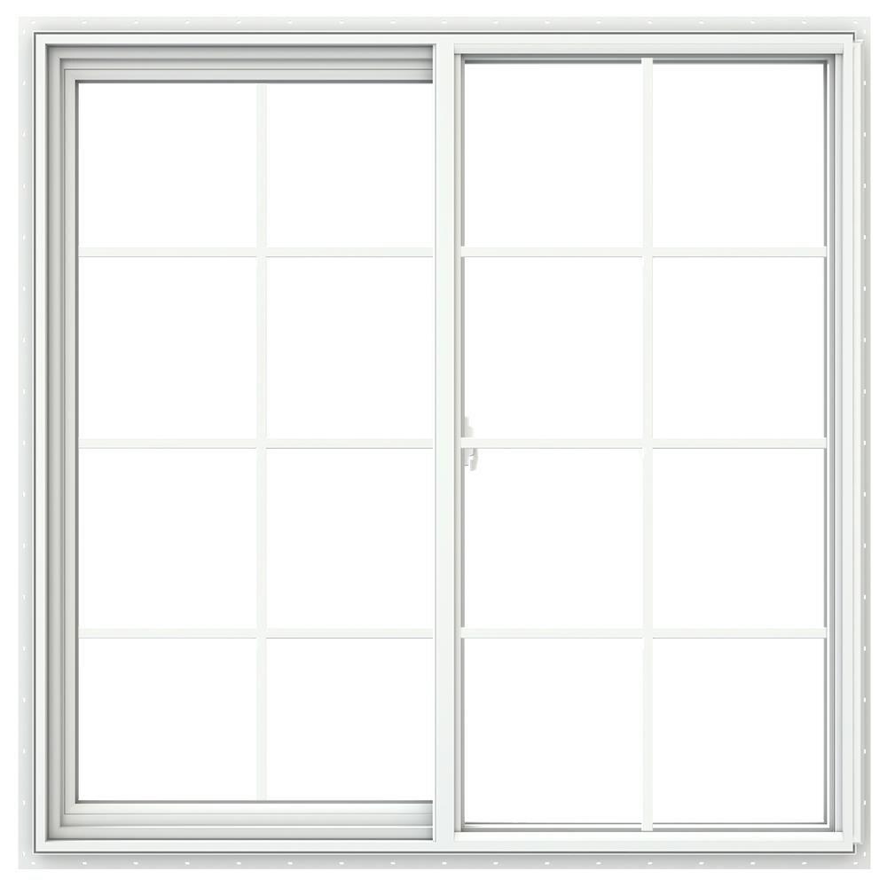 JELD-WEN V-2500 47.5-in x 47.5-in x 2.9065-in Jamb Between The Glass Left-operable Vinyl New Construction Egress White Sliding Window -  LOWOLJW232900578