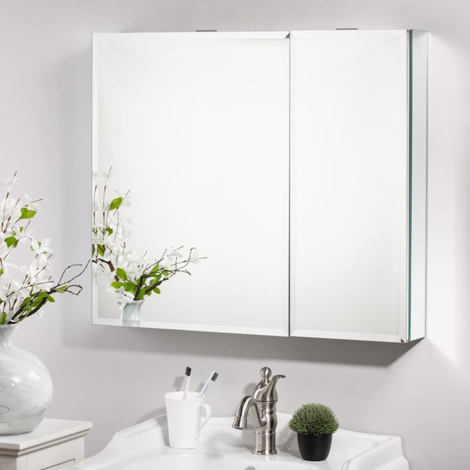 Glitzhome Classical 30 In X 25 In Surface Recessed Polished Mirrored Rectangle Medicine Cabinet In The Medicine Cabinets Department At Lowes Com