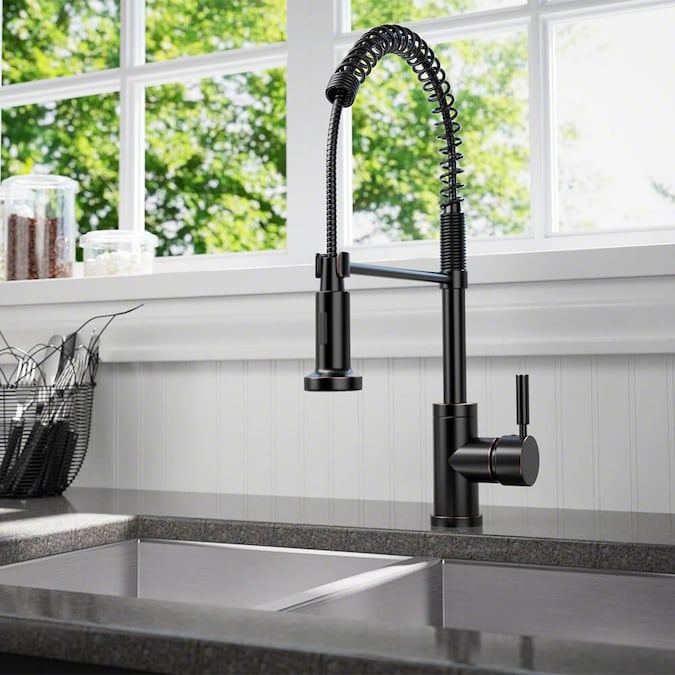 Sir Faucet Antique Bronze 1 Handle Deck Mount High Arc Handle Kitchen Faucet In The Kitchen Faucets Department At Lowes Com