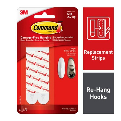 Pack White Adhesive Refill Hook Strips, Can Command Hooks Be Used On Mirrors