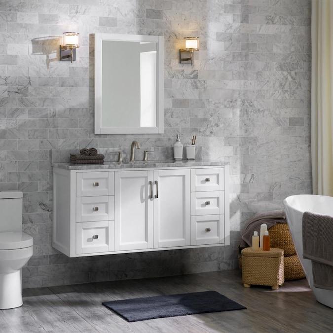 Allen Roth Floating 48 In White, Hanging Bathroom Vanity