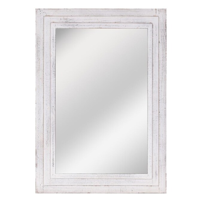 Allen Roth 44 In L X 31 In W Distressed White Framed Wall Mirror In The Mirrors Department At Lowes Com