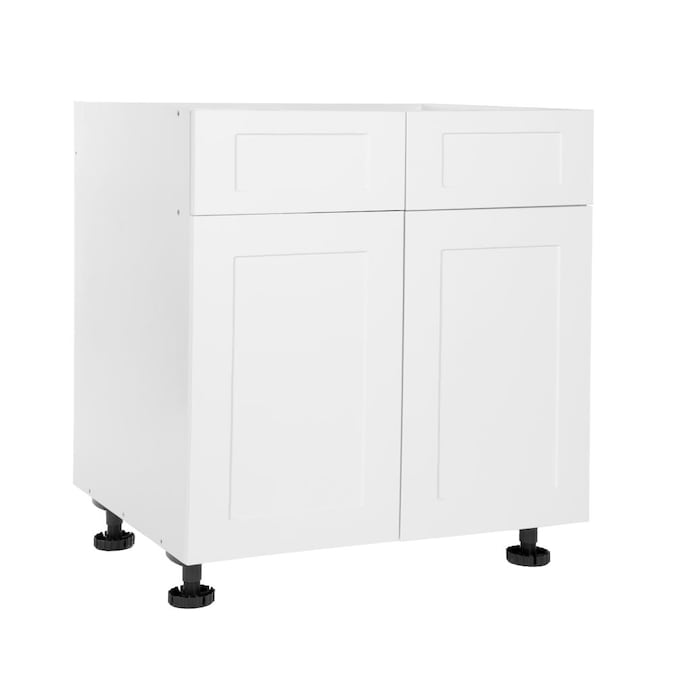 D Shaker White Wood Laminate Door Base, White Oak Kitchen Cabinets Home Depot
