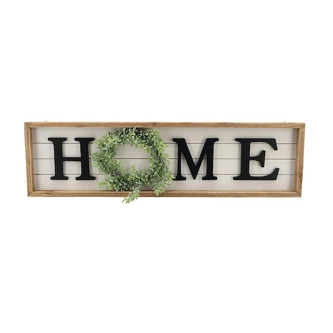 Parisloft Vertical Wooden Welcome Sign Plaque with Wreath Wall Hanging Decor