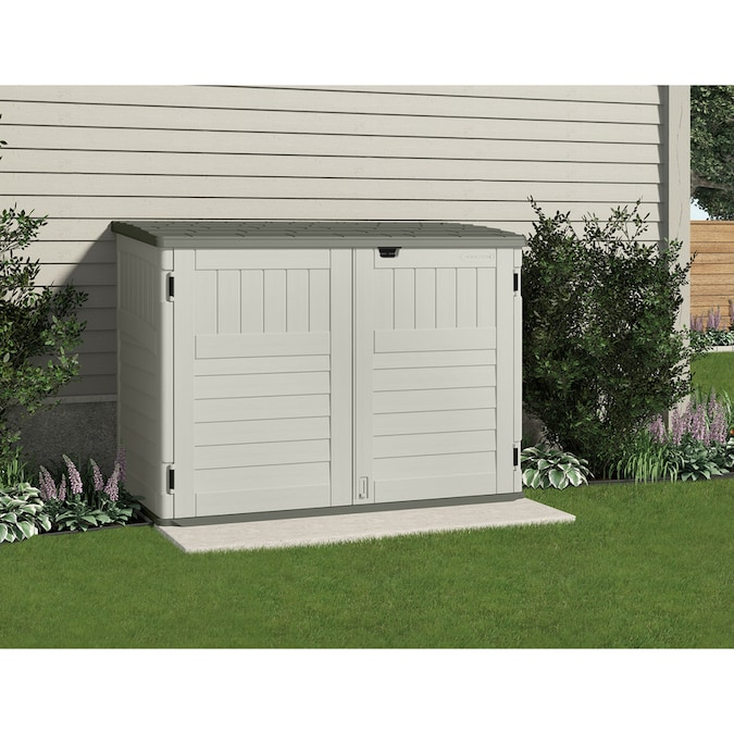 Suncast Vanilla Resin Outdoor Storage, Small Outdoor Storage Shed
