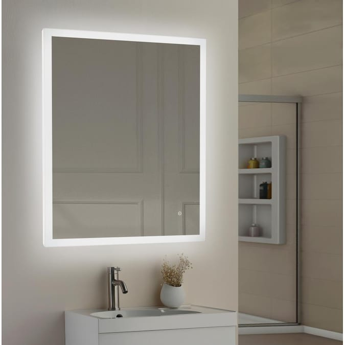 Allen Roth 36 In Lighted Led Fog Free Led Lit Mirror Rectangular Frameless Bathroom Mirror In The Bathroom Mirrors Department At Lowes Com