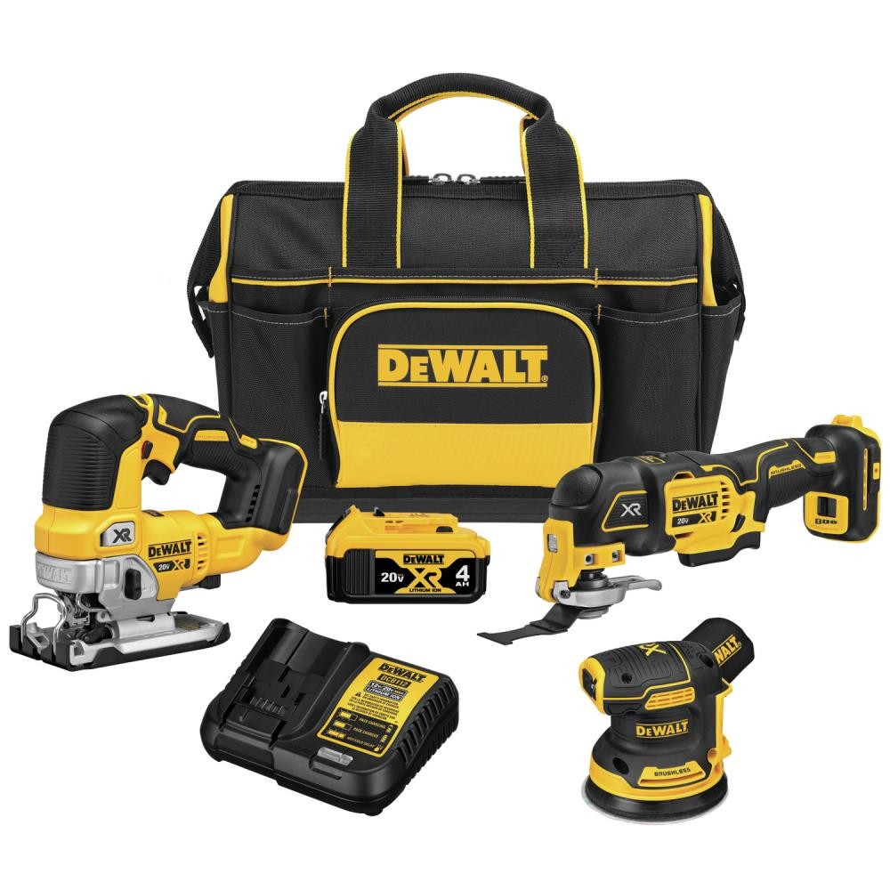 DEWALT XR 3-Tool 20-Volt Max Brushless Power Tool Combo Kit with Soft Case (Charger Included and 1-Battery Included) | DCKSS300M1