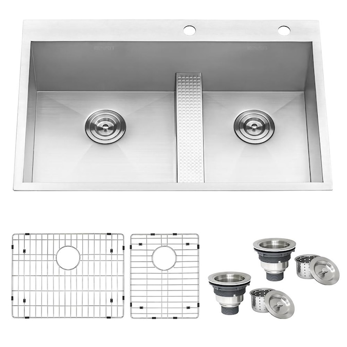 Ruvati Tirana Drop In 33 In X 22 In Brushed Stainless Steel Double Offset Bowl 2 Hole Kitchen Sink In The Kitchen Sinks Department At Lowes Com
