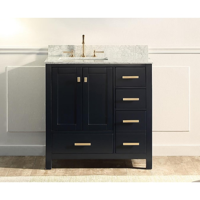 Supreme Wood Whitney 36 In Navy Blue Undermount Single Sink Bathroom Vanity With White Carrara Natural Marble Top In The Bathroom Vanities With Tops Department At Lowes Com