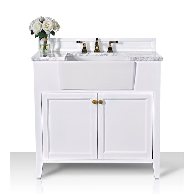 Ancerre Designs Adeline 36 In White Farmhouse Single Sink Bathroom Vanity With Carrara White Natural Marble Top In The Bathroom Vanities With Tops Department At Lowes Com