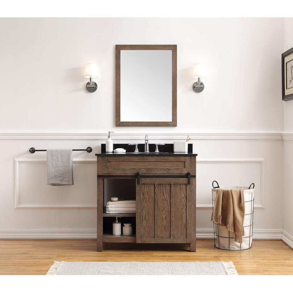 Ove Decors Oakland 36 In Classic Nutmeg Undermount Single Sink Bathroom Vanity With Black Granite Top In The Bathroom Vanities With Tops Department At Lowes Com