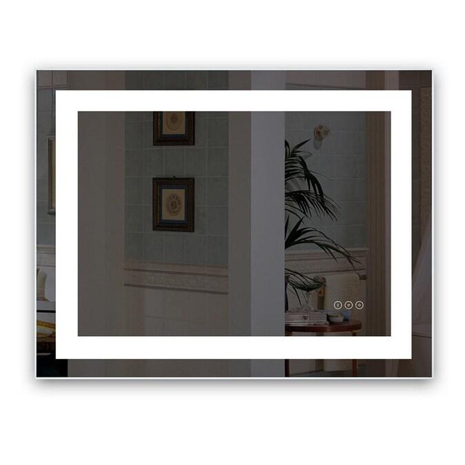 Kinwell Kinwell Led Bathroom Wall Mounted Mirror 40 In Lighted Led Fog Free Clear Rectangular Frameless Bathroom Mirror In The Bathroom Mirrors Department At Lowes Com