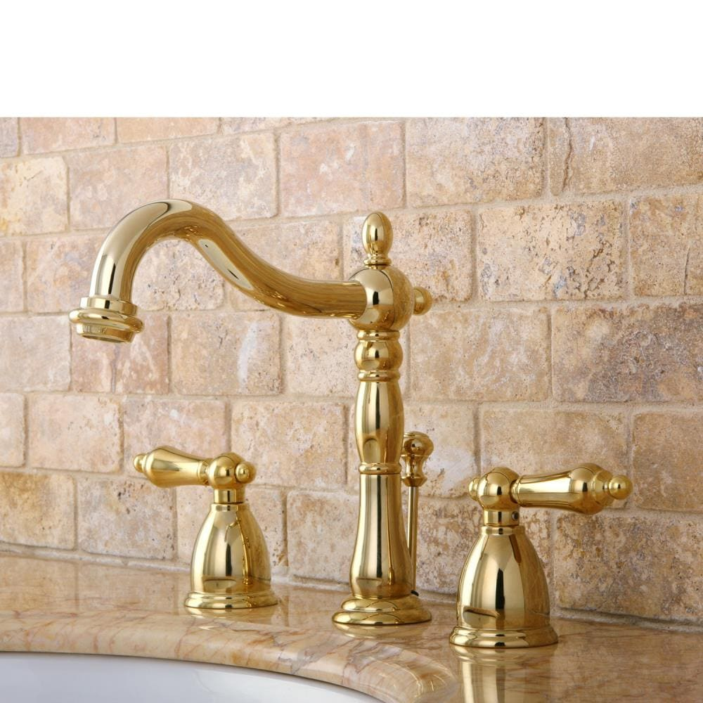 Kingston Brass Vintage Polished Brass 2 Handle 8 In Widespread Bathroom Sink Faucet With Drain In The Bathroom Sink Faucets Department At Lowes Com