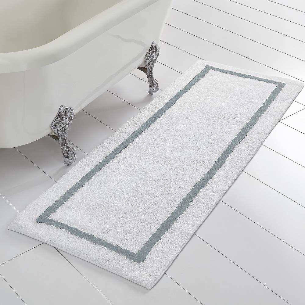 Silver Cotton Bath Rug, Reversible Bathroom Rugs