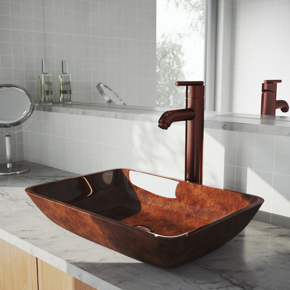 Vigo Vessel Sink Oil Rubbed Bronze Glass Vessel Rectangular Bathroom Sink With Faucet Drain Included 13 In X 18 125 In In The Bathroom Sinks Department At Lowes Com