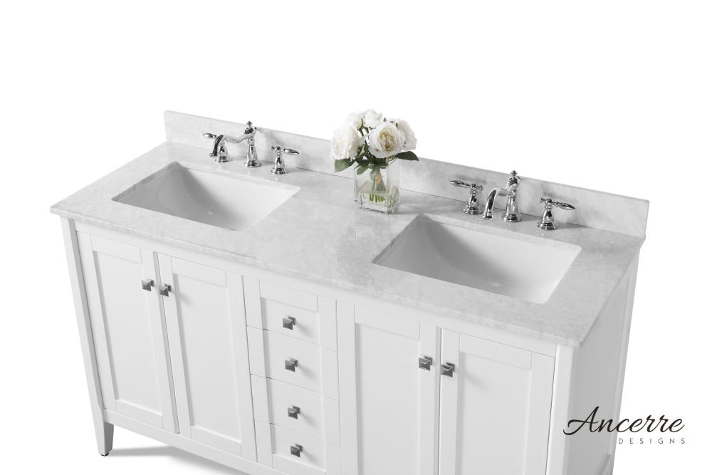 Ancerre Designs Shelton 60 In White Undermount Double Sink Bathroom Vanity With White Natural Marble Top In The Bathroom Vanities With Tops Department At Lowes Com