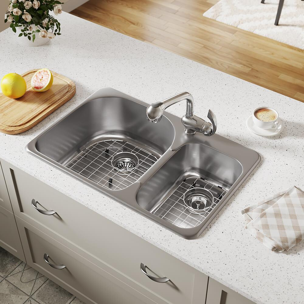 Mr Direct Drop In 31 5 In X 20 5 In Stainless Steel Double Offset Bowl 1 Hole Kitchen Sink In The Kitchen Sinks Department At Lowes Com