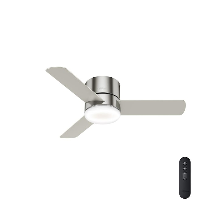 Hunter Minimus Super Low Profile 44 In Brushed Nickel Led Ceiling Fan With Remote 3 Blade In The Ceiling Fans Department At Lowes Com