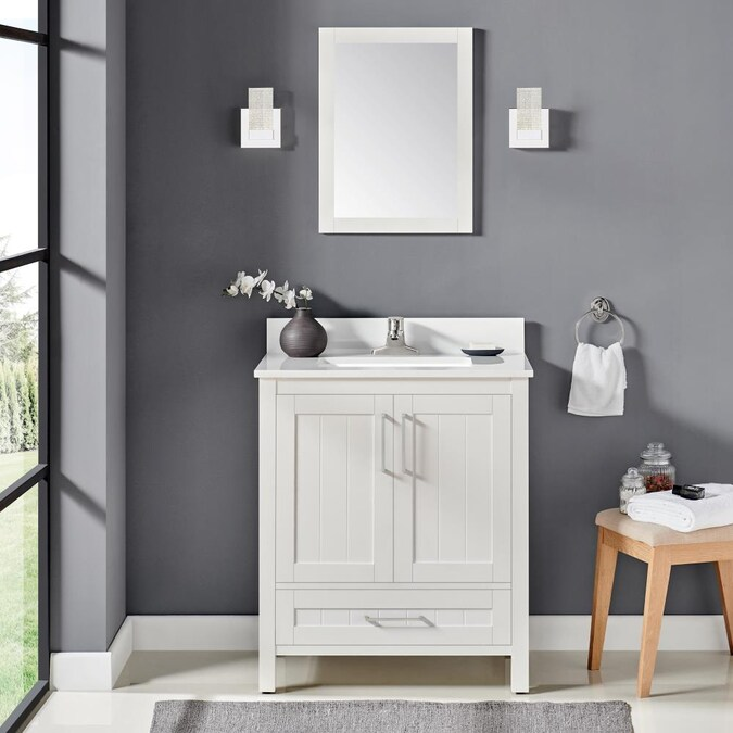 Ove Decors Cliff 30 In White Undermount Single Sink Bathroom Vanity With White Engineered Stone Top Mirror Included In The Bathroom Vanities With Tops Department At Lowes Com