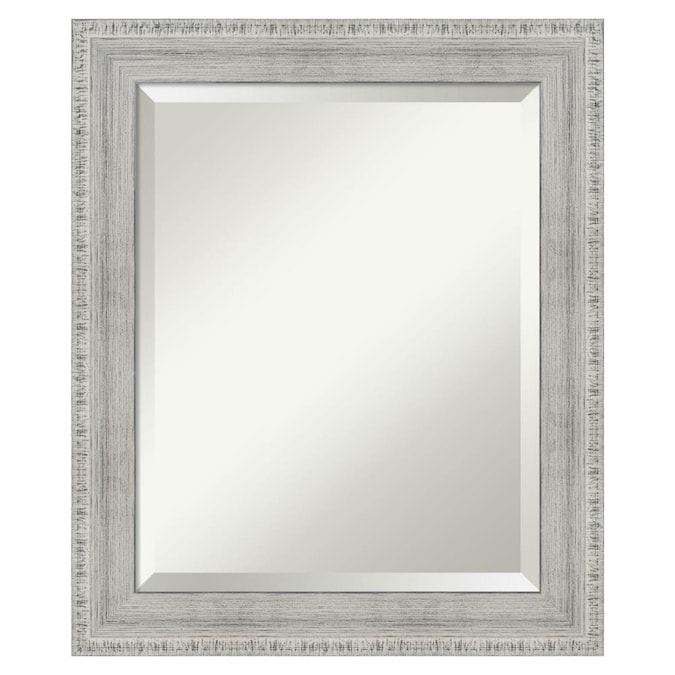 Amanti Art Rustic White Wash Wood Frame Collection 20 38 In Distressed White Rectangular Bathroom Mirror In The Bathroom Mirrors Department At Lowes Com