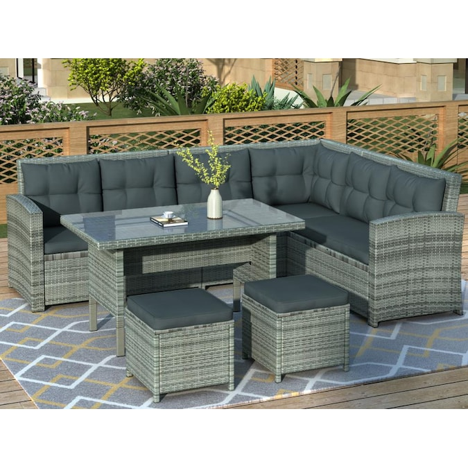 Clihome Outdoor 6 Piece Patio Furniture, Patio Furniture Couch