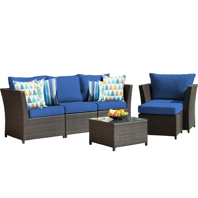 Piece Rattan Wicker Patio Furniture Set, No Cushion Outdoor Furniture