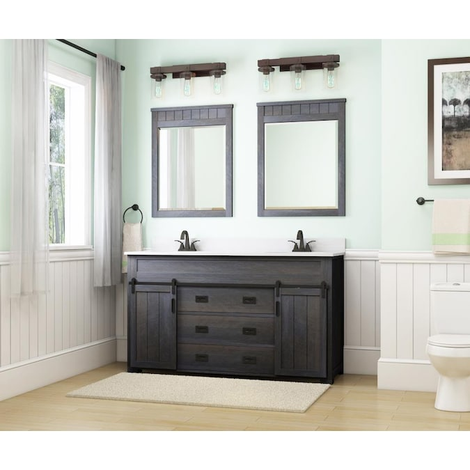 Style Selections Morriston 60 In, Bathroom Cabinets Double Sink