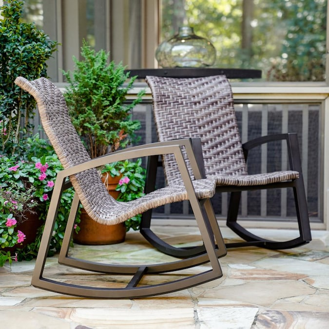 Leisure Made Marion Set Of 2 Wicker, Outdoor Rocking Chairs Set Of 2