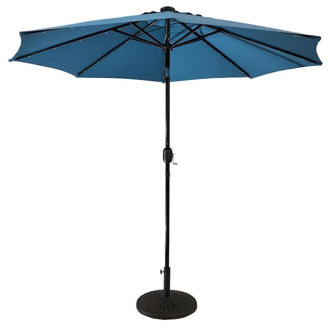 Sun Ray 8 85 Ft Teal Solar Powered Push, Patio Umbrellas With Solar Lights