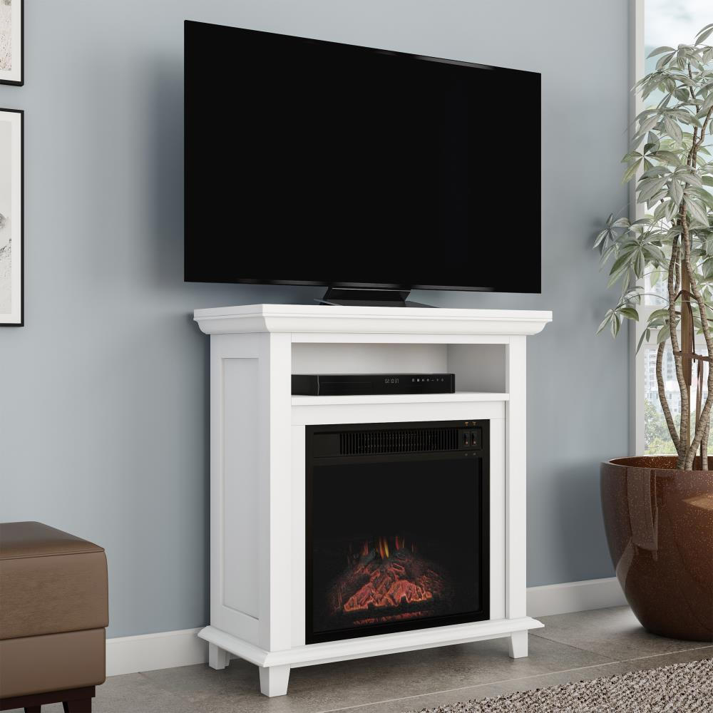 Hastings Home Electric Fireplace Tv Stand 29 In Freestanding Console Faux Logs And Led Flames Space Heater Entertainment Center By Hastings Home White In The Electric Fireplaces Department At Lowes Com