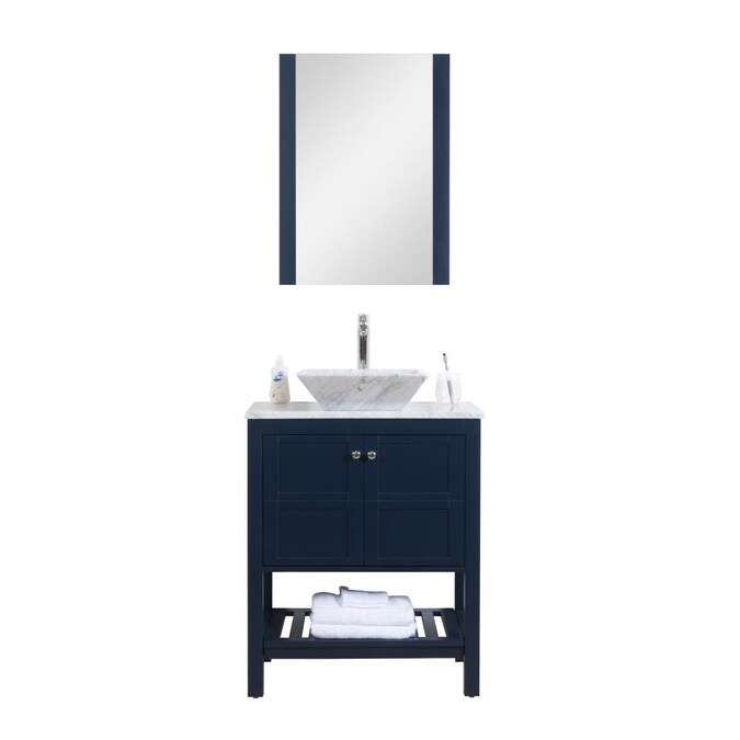 C L L Collections 36 In Navy Single Sink Bathroom Vanity With White Marble Top Mirror And Faucet Included In The Bathroom Vanities With Tops Department At Lowes Com