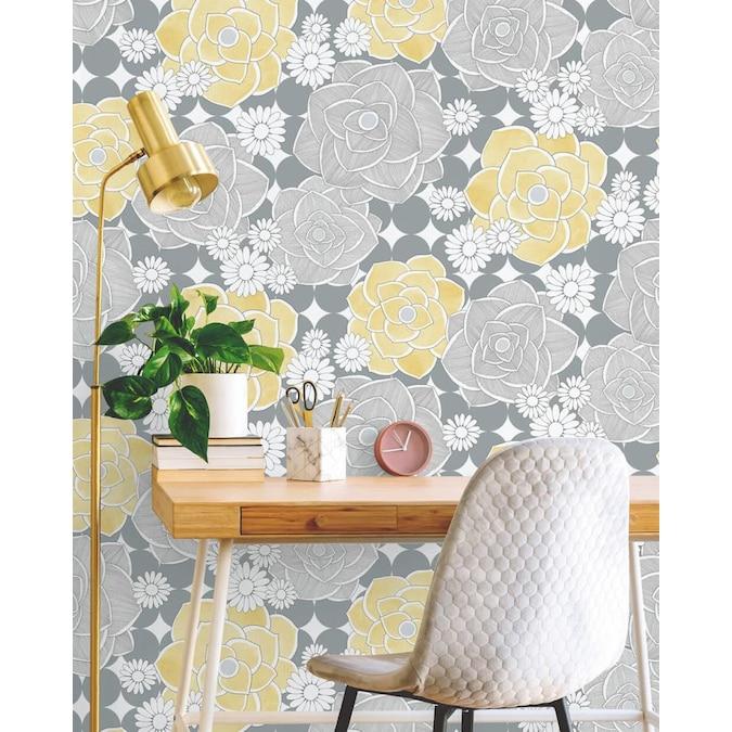 Wallpaper Tools Accessories Fresco Scandiscape Yellow Grey Floral Wallpaper Wallpaper Rolls Sheets
