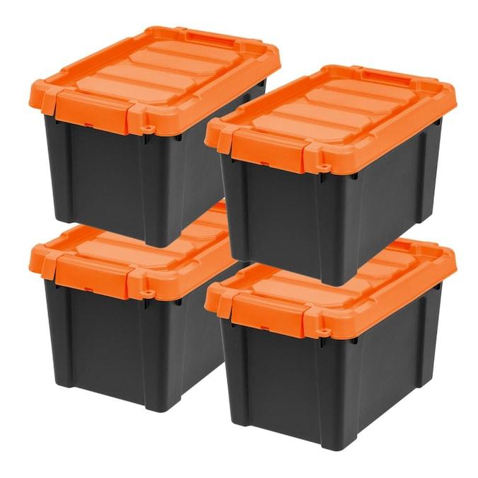 Black Orange Tote With Latching Lid In, Orange Plastic Storage Totes